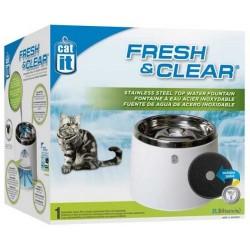 Bebedero fuente de acero inoxidable Catit Fresh & Clear 2 litros